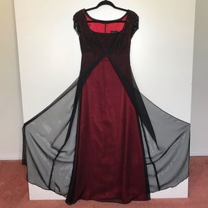 Vintage Beaded Gown Red w/Black Chiffon Overlay